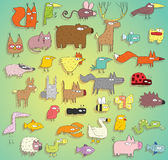 在颜色的滑稽的动物收藏,与概述和阴影 免版税库存照片
