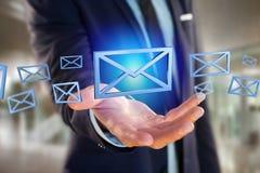 在颜色背景显示的蓝色电子邮件标志- 3D翻译 免版税图库摄影