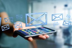 在颜色背景显示的蓝色电子邮件标志- 3D翻译 免版税库存照片