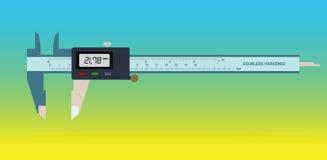 在颜色背景的游标卡尺工具 免版税库存图片