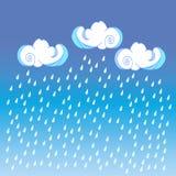 在颜色背景的雨云 婴孩室装饰的,孩子布料装饰逗人喜爱的云彩海报设计 库存图片