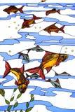 在颜色玻璃的鱼 免版税库存图片
