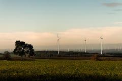 在风力场风景的绿色环境树全景视图在有白色发电器涡轮的德国 免版税库存照片