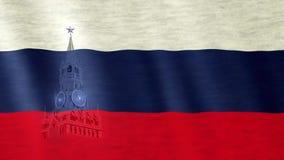 在风吹的俄国旗子 Spasskaya镇剪影在边 库存例证