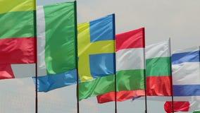 在风天时间的国际会议欧洲旗子 影视素材