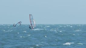 在风帆的人海浪传染性的风沿泡沫似的波浪 股票视频