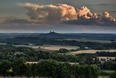 在风景上的日落在夏天,捷克天堂,捷克共和国 免版税图库摄影