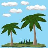 在风景的低多棕榈 免版税图库摄影