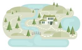 在风景的单独别墅 免版税图库摄影