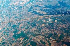 在风景的空气视图与几何形状 库存照片