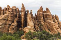 在风景的红色石头,曲拱N P 犹他 免版税库存照片