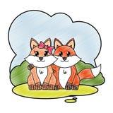 在风景的被磨碎的狐狸夫妇逗人喜爱的动物 库存例证