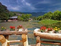 在风景附近的横向lijiang 免版税库存图片