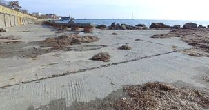 在风暴以后的Pomorian堤防,保加利亚 免版税图库摄影