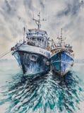 在风暴前的渔船 图库摄影