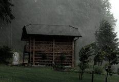 在风暴的一干草架 免版税库存照片