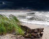 在风暴的休伦湖湖 图库摄影