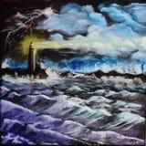 在风暴的灯塔 向量例证