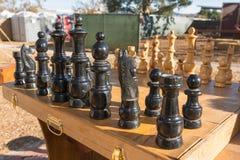 在风滚草节日期间的棋桌 免版税库存图片