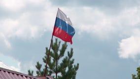 在风的俄国旗子反对夏天天空蔚蓝 股票视频