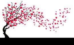 在风的树与落的叶子 免版税图库摄影