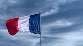 在风的法国旗子飞行 股票录像