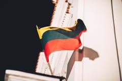 在风的立陶宛旗子 免版税库存图片