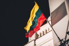 在风的立陶宛旗子 免版税库存照片