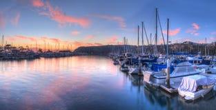 在风船的日落在达讷论点港口 免版税库存照片