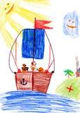 在风船的狗。儿童的图画。 图库摄影