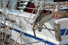 在风船的船锚 库存照片