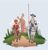 在风车背景的唐吉诃德和Sancho Panza骑马 书字符 平的传染媒介例证 库存例证