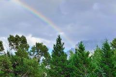 在风雨如磐的天空的彩虹在夏天 库存照片