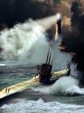 在风暴下的潜水艇 库存照片