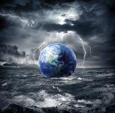 在风暴的地球 免版税库存照片