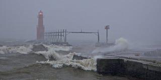 在风暴的灯塔 图库摄影