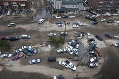 在飓风桑迪以后的失败的汽车 免版税库存照片