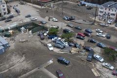 在飓风桑迪以后的失败的汽车 图库摄影