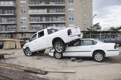 在飓风桑迪以后的失败的汽车 库存图片