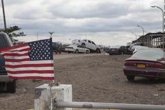 在飓风桑迪以后的失败的汽车 库存照片