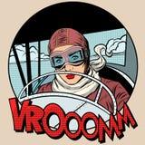 在飞机上的减速火箭的飞行员妇女 皇族释放例证