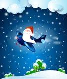 在飞机上的圣诞老人,在夜之前 免版税库存图片