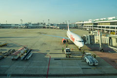 在飞机上的泰国狮子航空公司装货货物 库存图片