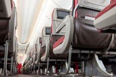 在飞机上的靠走道的位子 库存图片