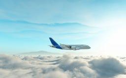 在飞机云彩之上 库存图片