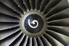 在飞机引擎的刀片 免版税图库摄影