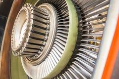 在飞机引擎的刀片 免版税库存照片