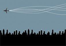 在飞机的城市飞行 库存图片