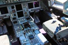 在飞机的控制架 免版税库存照片