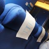 在飞机里面内部的片段  免版税图库摄影